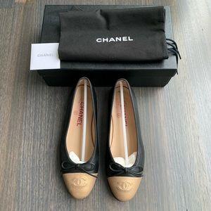 Chanel CC Cap Toe Ballerina Flats